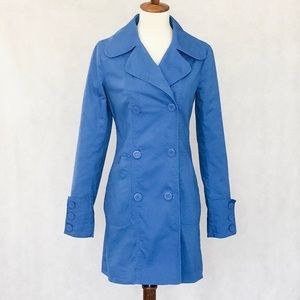 BB Dakota Blue Cotton Double Breasted  Trench Coat